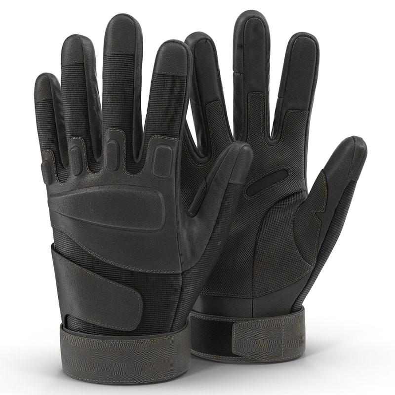 soldier gloves black modeled 3d model