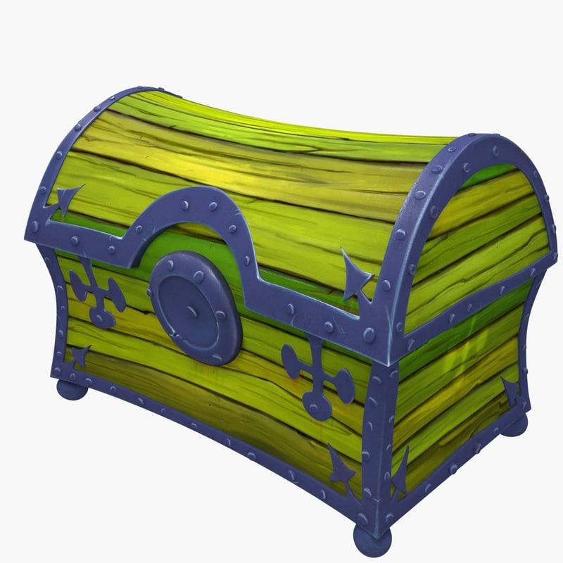 3d wooden treasure chest model
