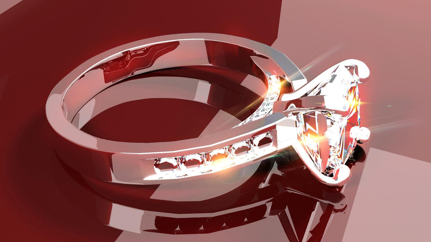3d model 24 k diamond ring