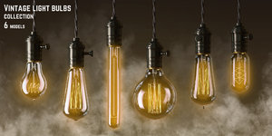 3d model vintage light bulbs