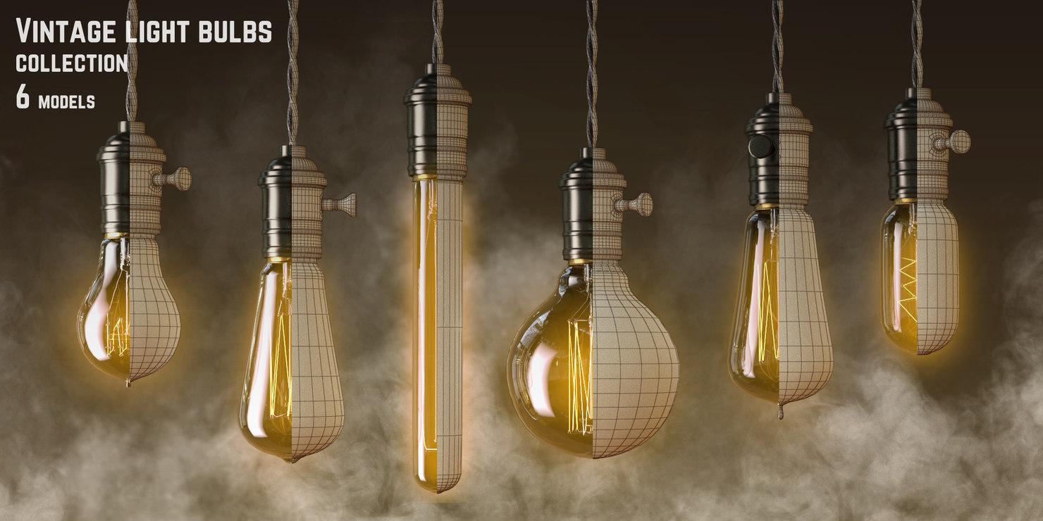 3d model vintage light bulbs