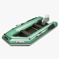 inflatable engine boat green 3d max
