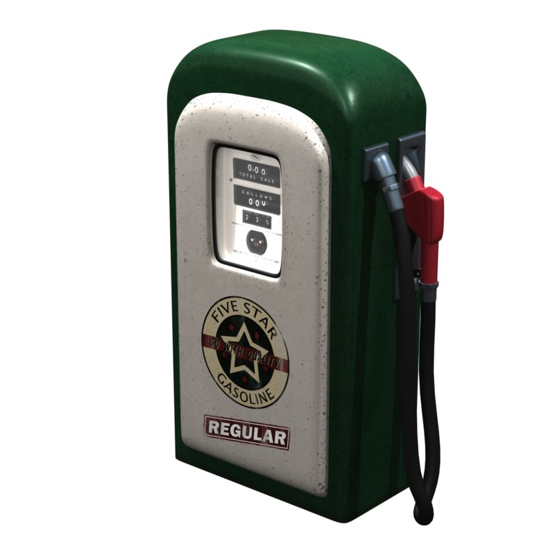 3d model vintage petrol pump gas