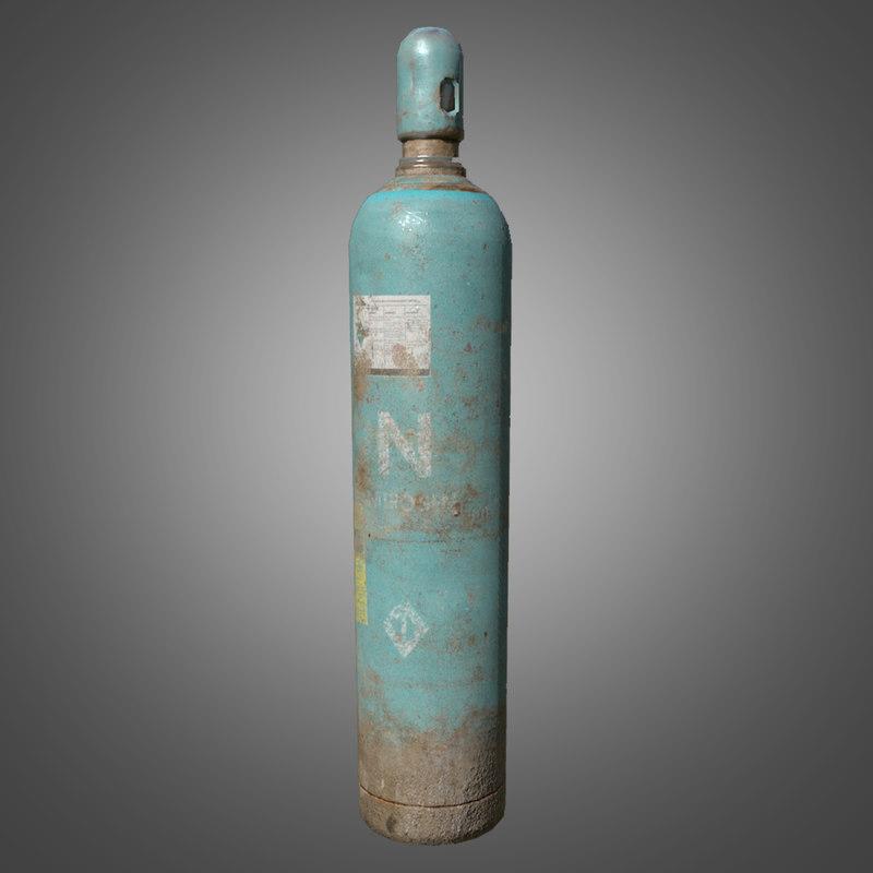3d model nitrogen gas cylinder -
