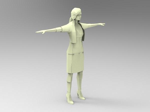 3d paper women model