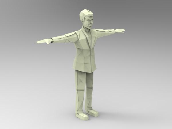 paper man b 3d model