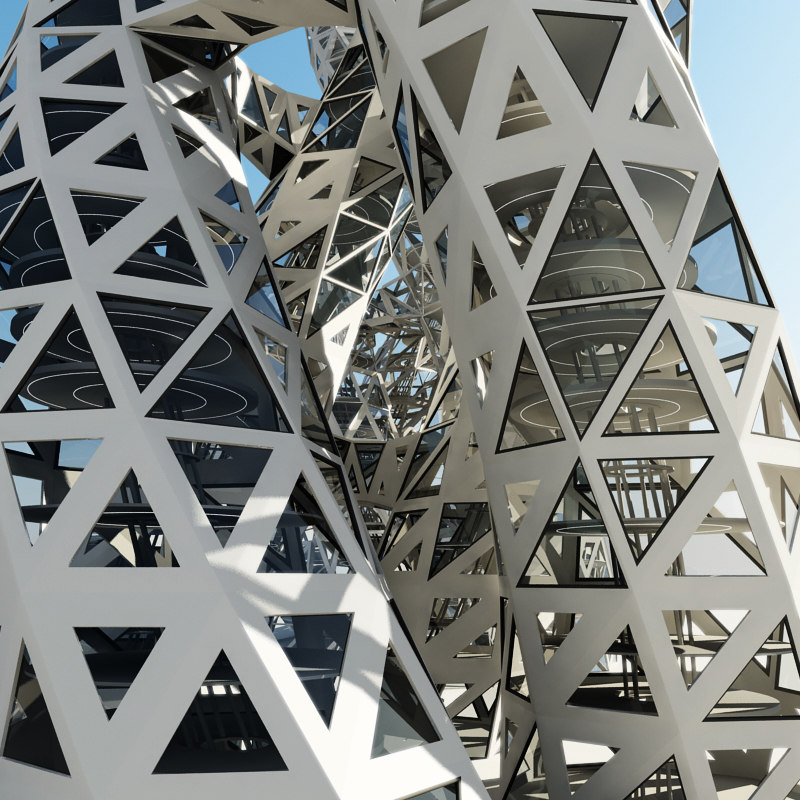 3d towers futuristic