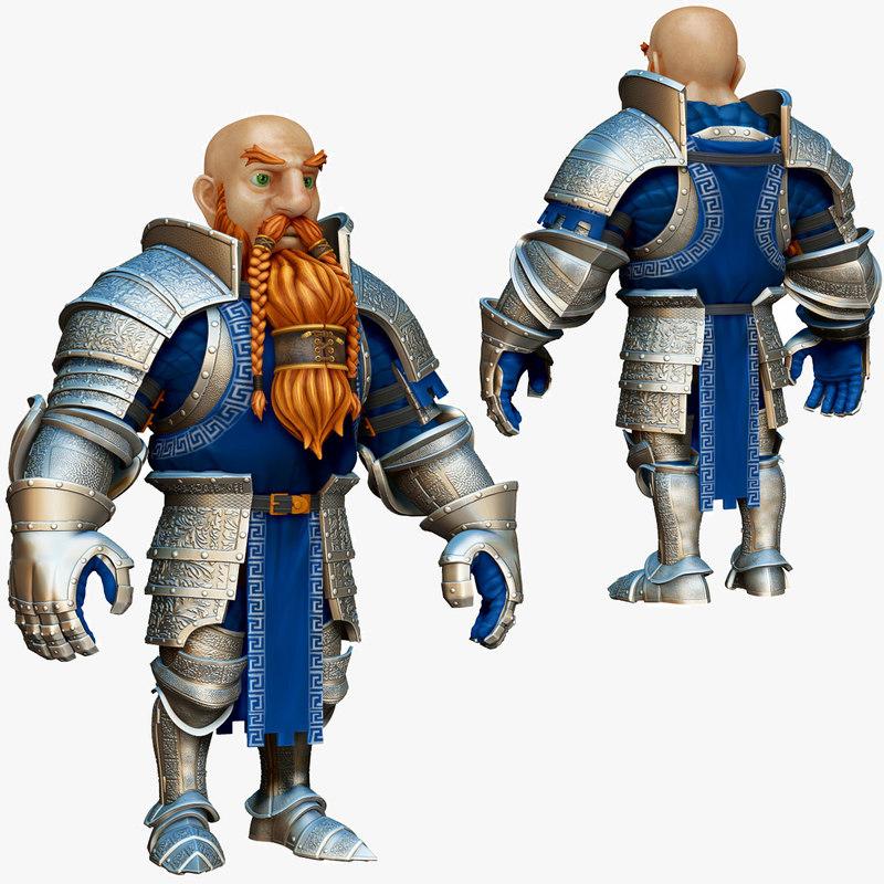 3d model dwarf knight armor