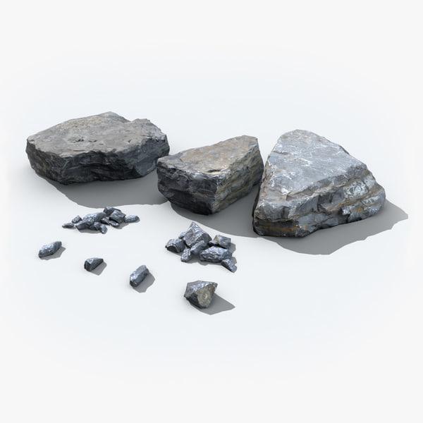 3d model scanned rocks real time