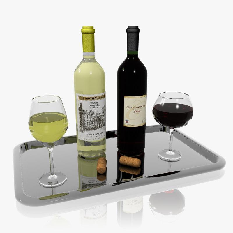 3d wine display set model