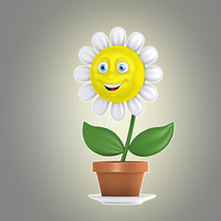 3d model of cartoon flower