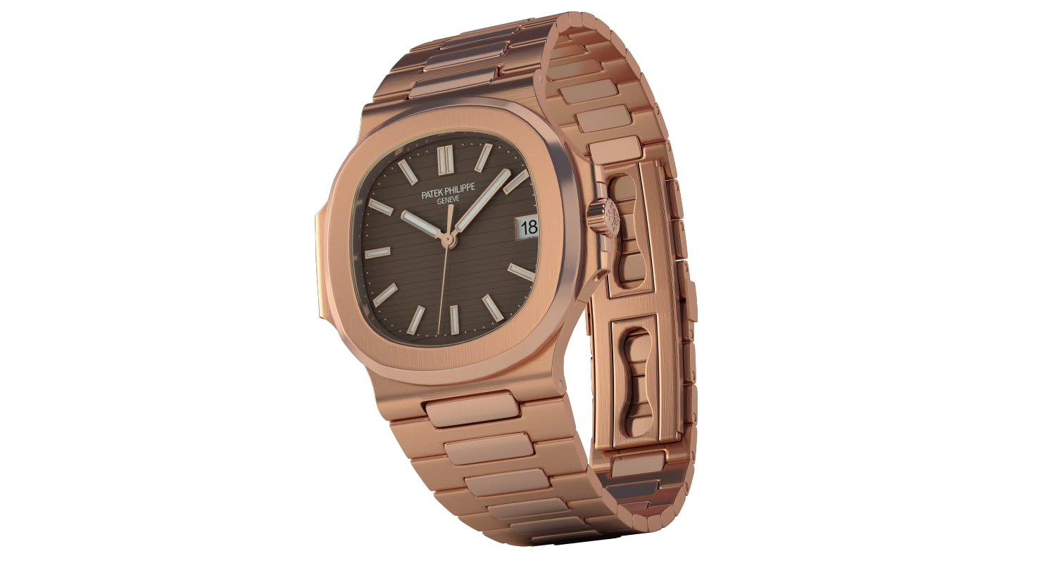 3d model patek nautilus rose gold