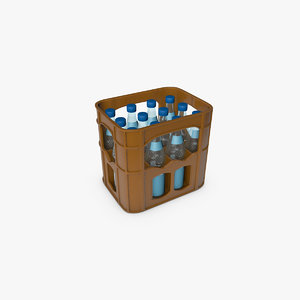 c4d mineral water crate bottles