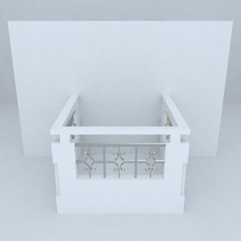 3d model french balcony