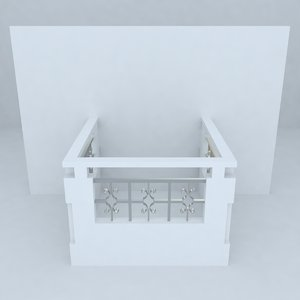 3d model french balcony