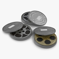 3d model of video film reels 3