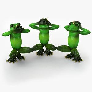 statuette frog 3d 3ds