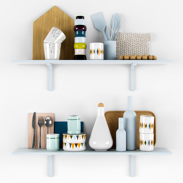 scandinavian kitchen set 3d model