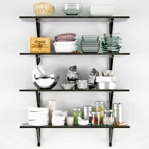 decorative shelves dishes 3d model