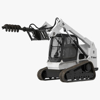 Compact Tracked Loader Bobcat with Auger Rigged 3D Model