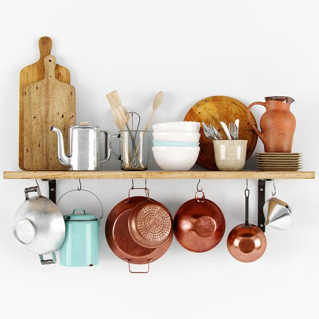 3d model decorative shelf dishes