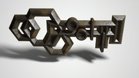 ancient metal key 3d obj