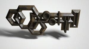 ancient metal key 3d obj