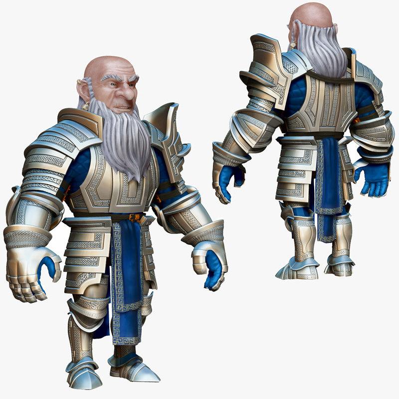 dwarf knight armor 3d model