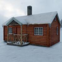 mountain cabin 3d model
