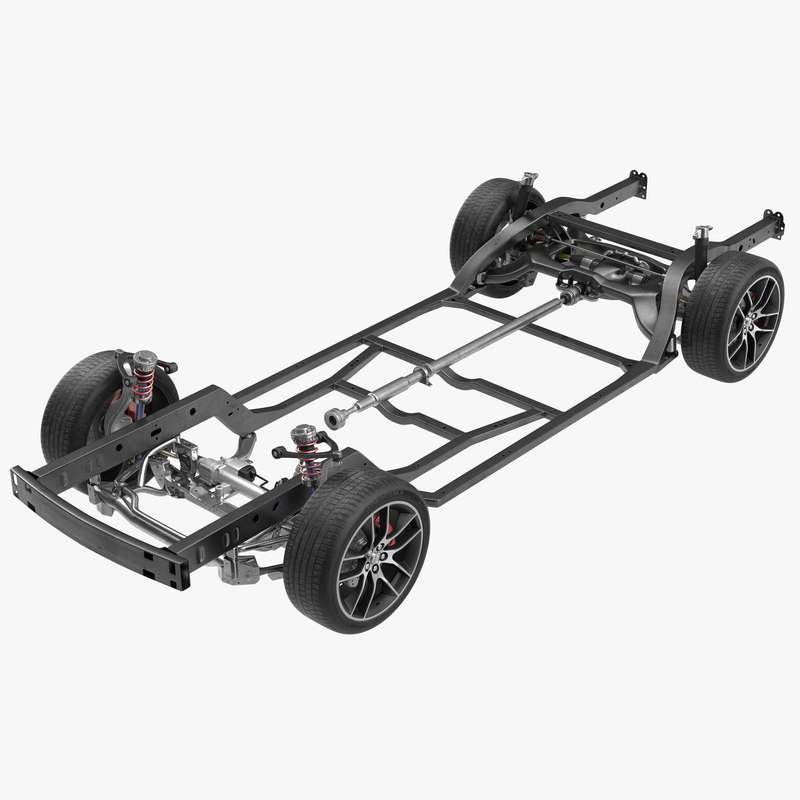 3d sedan chassis drivetrain model