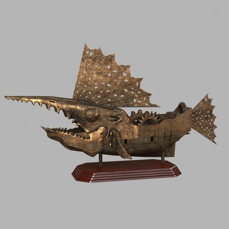 3d ship statuette steampunk