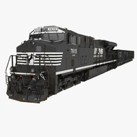 Train ES40DC Norfolk Southern and Hopper Car