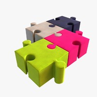 3d kids buzzi puzzle poufs model