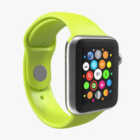 Apple Watch 38mm Fluoroelastomer Green Sport Band 2 3D Model