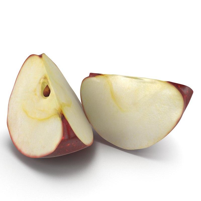 red apple slice 3d model