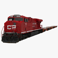 Train ES40DC Canadian Pacific and Flat Car