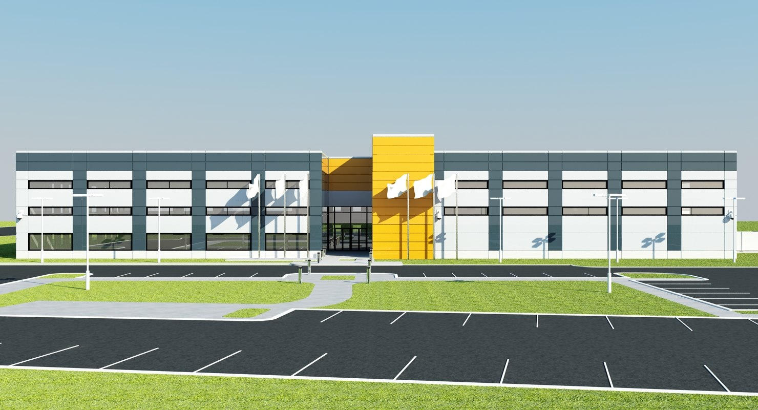 large warehouse exterior building 3d max