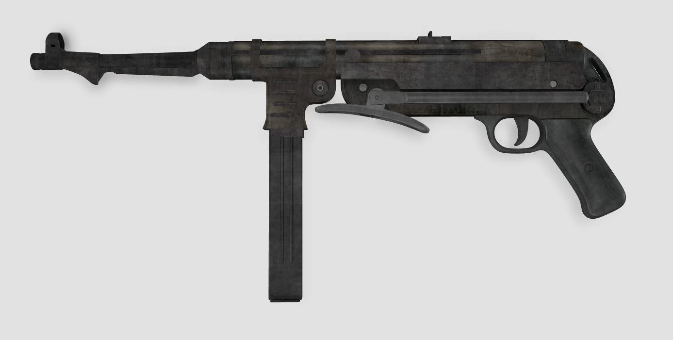 mp gun german 3d obj