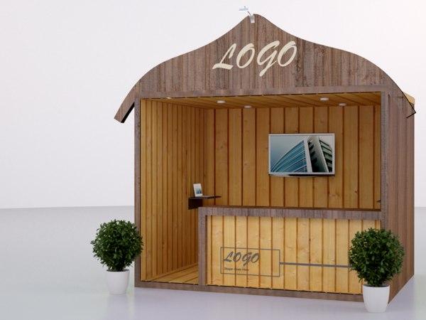 3d model of hawaiian kiosk booth design