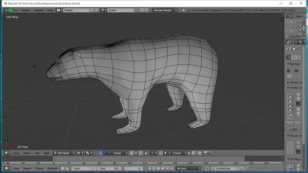 3d model rigged polar bear