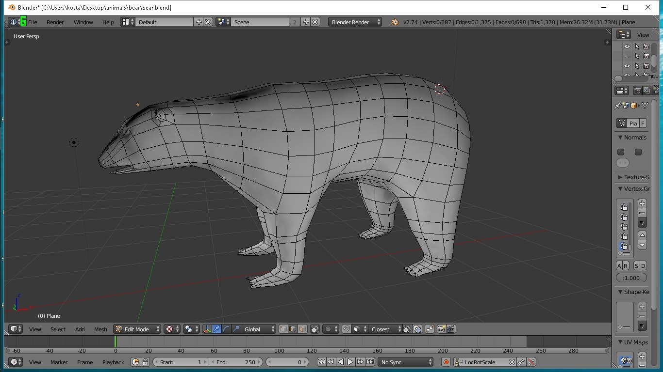 3d model rigged polar bear