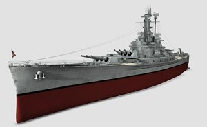 3d uss nevada navy ship model