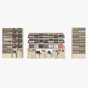 wine store shelves 3d model