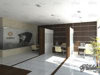 hall scene 3d model