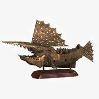 3d ship statuette steampunk