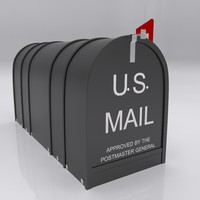 3d model urban street box mail
