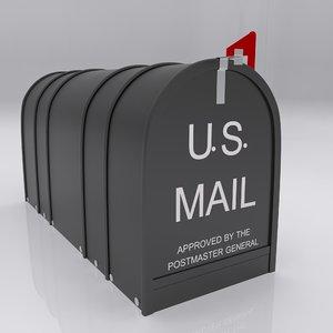 3d model urban street box mail