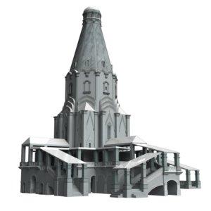 medieval church ascension 3d model