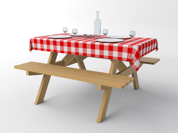 3d table picnic model