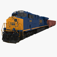 Train ES40DC CSX Blue and Covered Hopper Car
